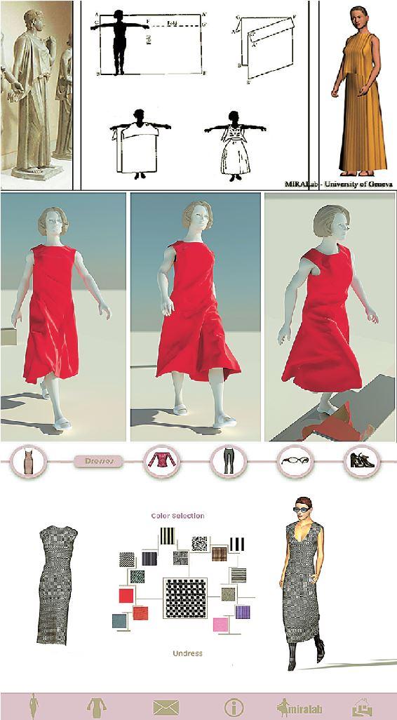 Τα τρία στάδια μελέτης της τρισδιάστατης απεικόνισης ενδυμάτων στο ΜΙRΑLab: από τη μοντελοποίηση χιτώνων των ελληνικών αγαλμάτων (επάνω), στην προσομοίωση φορεμάτων εν κινήσει (στο μέσον), ως το ταίριασμα ρούχων καταστημάτων στο σώμα μας (κάτω)