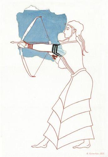 Η τοξότρια του δωματίου 67, σε ζωγραφική αποκατάσταση της Ρόζμαρι Ρόμπερτσον, ήταν μια από τις τοιχογραφίες που ανασυντέθηκαν με τις νέες έρευνες